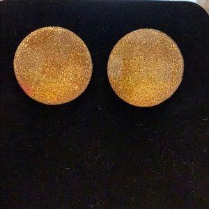Gold glitter plastic earrings.Very light earrings!